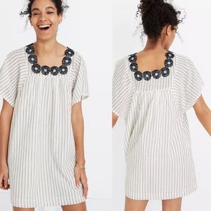Madewell Embroidered Butterfly Dress in Stripes